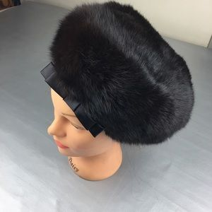 Vintage fur pill box hat with bow